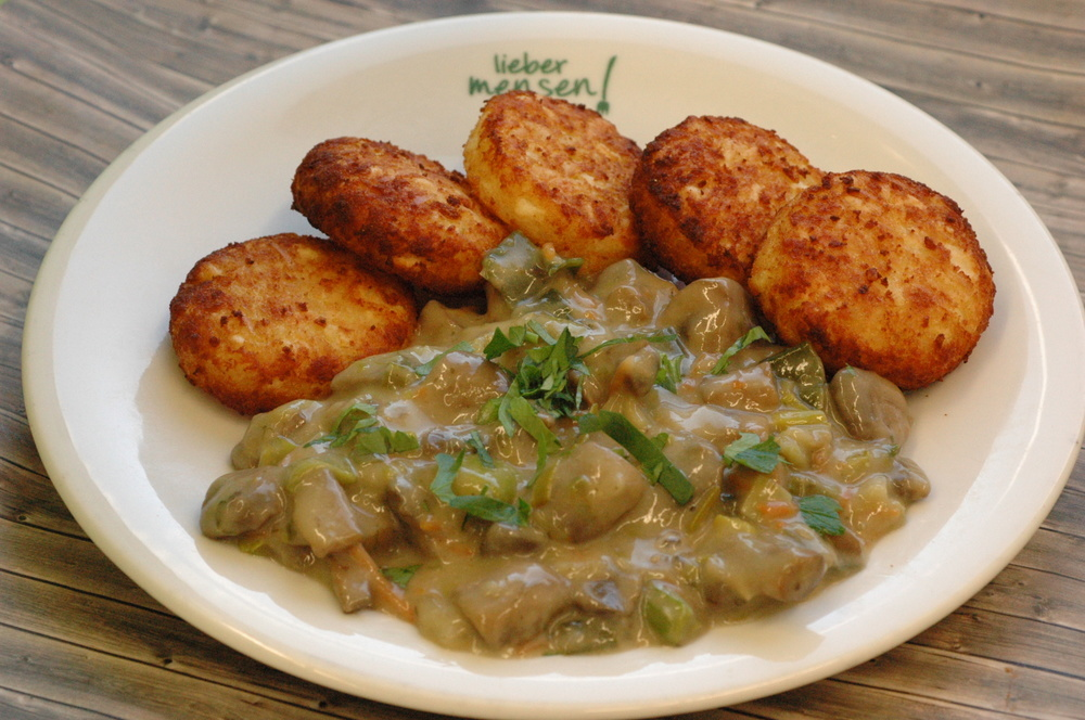 Champignon-Lauchpfanne mit Kartoffelrösti