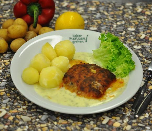 Schlemmerfilet Italiano auf Dillrahmsoße , dazu Kartoffeln