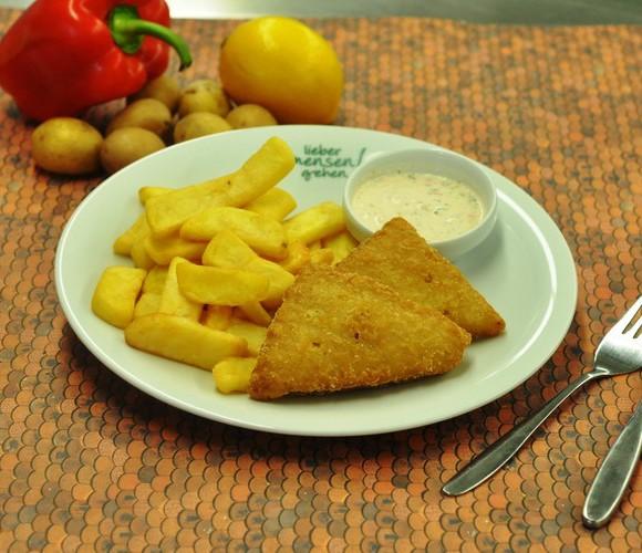 Fish und Chips (Seelachs im Backteig und Steakhouse fritten) , dazu Remouladensoße